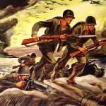 """World War II propaganda poster of soldiers assault"" by stocktrekimages"