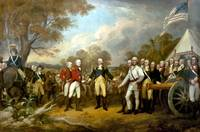 Revolutionary War Painting showing the surrender o