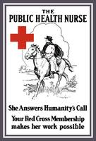 Vintage World War I poster of a red cross nurse ri