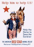 Vintage World War I poster of Uncle Sam with a hor