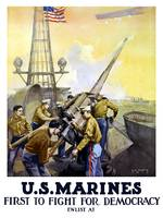 World War I poster of Marines firing artillery rou