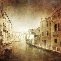 Vintage photo of Venetian canal, Venice, Italy