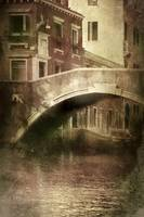 Vintage shot of venetian canal, Venice, Italy