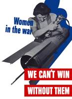 World War II poster of a female factory worker bui