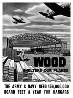 World War II poster of an aircraft hangar being bu