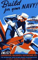 Vintage World War II poster showing two sailors bu