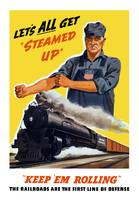 World War II poster of an engineer rolling up his