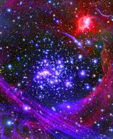 The Arches star cluster deep inside the hub of our