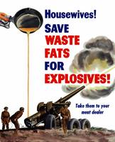 World War II poster of grease from a frying pan be