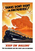 World War II poster of tanks rolling into battle a