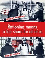 Vintage World War Two poster demonstrating food ra