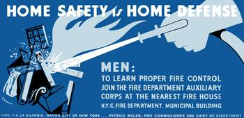 Vintage WPA poster of a hose putting out a house f