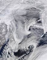 Far eastern Russia covered in snow ice and clouds
