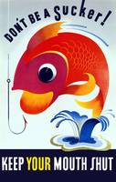 Vintage WW2 poster of a colorful fish jumping from