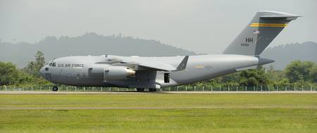 A C-17 Globemaster III of the U.S. Air Force at La