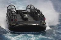 A Landing Craft Air Cushion prepares to enter the