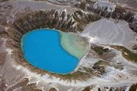 Aerial view of crater lake in Tongariro volcanic c