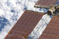 A repaired solar array on the International Space