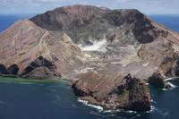 Aerial view of White Island volcano with central a