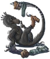 A playful Deinonychus dinosaur playing with socks