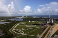Space shuttle Atlantis and Endeavour on launch pad