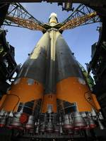 The Soyuz TMA13 spacecraft arrives at the launch p