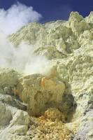 Natural sulphur deposits damaged by miners, Kawah