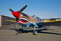 Nose art on a Curtiss P-40E Warhawk