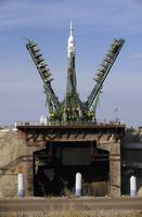 The Soyuz TMA13 arrives at the launch pad at the B