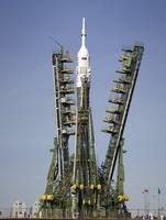 The Soyuz rocket at the launch pad at the Baikonur