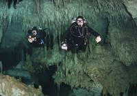 Cave divers in Dreamgate cave system, Yucatan Peni