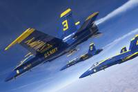F/A-18 Hornets of the Blue Angels fly in formation