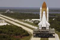 Space Shuttle Discovery resting on the Mobile Laun