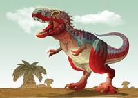 Colorful illustration of a Tyrannosaurus Rex
