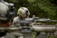 U.S. Special Forces soldiers provide security with