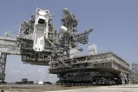 The mobile launcher platform is being moved via th
