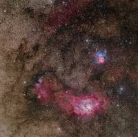 Lagoon Nebula and Trifid Nebula in Sagittarius