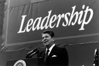 President Ronald Reagan giving a campaign speech