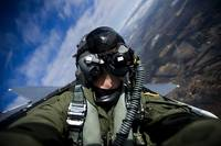 Self portrait of a pilot in the cockpit of a F 15E