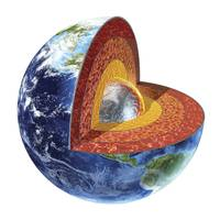 Cross section of planet Earth showing the inner co