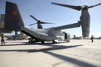 V 22 Osprey tiltrotor aircraft at Camp Bastion, Af
