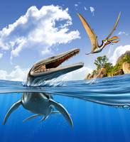 A Plesiopleurodon jumps out of the water, attackin
