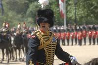 An officer shouts commands during the Trooping the
