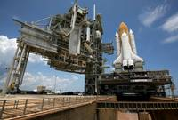Space Shuttle Discovery atop the mobile launcher p