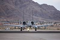 An A-10 Thunderbolt taxis to the runway at Nellis