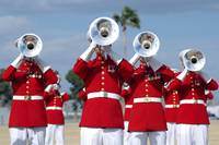 U.S. Marine Corps Drum and Bugle Corps performing