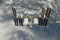 International Space Station backdropped against Ea