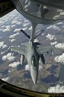 A Chilean Air Force F-16 refuels from a U.S. Air F