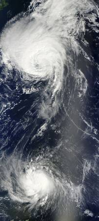 Two powerful storms span the Atlantic Ocean