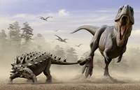 An Euoplocephalus hits T-Rex's foot with its mace
